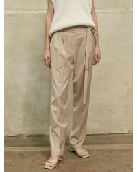 AEER Two Tuck Strap Trousers - Natural