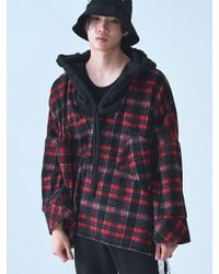 W Concept - [unisex]_deep Check Hoodie Red - Lyst