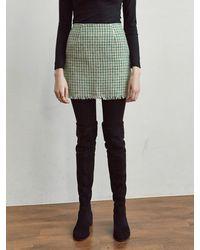 YAN13 Tweed A Mini Skirt - Green