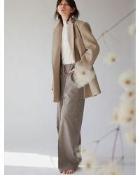 AEER Trousers Wide Eband Melange Beige - Natural