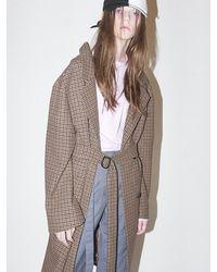 Bouton Houndtooth Check Coat-brown Check