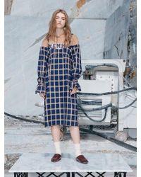 NINE ONE TWO - Combine Hoodie Dress_navy - Lyst