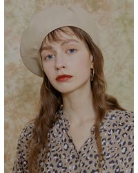 among A Artificial Leather Beret Beige - Natural