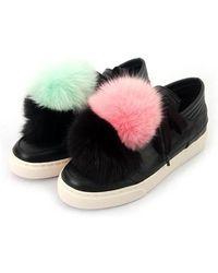 SHOBONYATA - Fox Fur Pompon Sheepskin Sneakers_ws3032a - Lyst