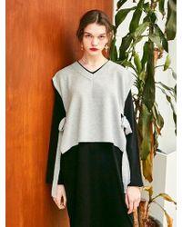 YAN13 - Ribbon Layered Vest Knitwear - Grey - Lyst