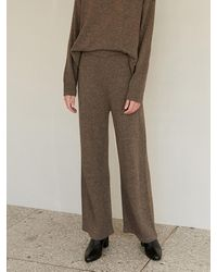 among A Melange Knit Trousers - Brown