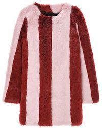 Jin Jin Island - Stripe Faux Fur Coat Red Pink - Lyst