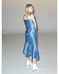 Clue de Clare Unbalance Satin Slip Dress - Blue