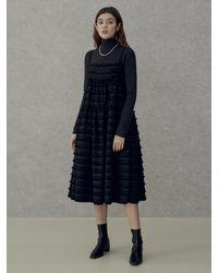 among A Layered Feather Dress - Black