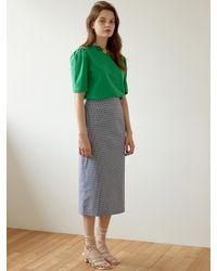 Blank Check Long Skirt - Blue