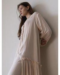 AEER - Flounce Pleated Silk-like Dress Ivory - Lyst