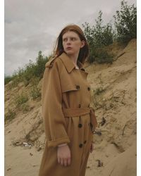 NUISSUE - Handmade Wool Trench Coat Camel - Lyst