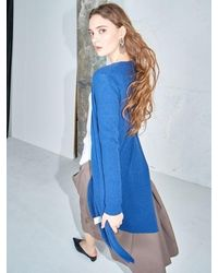 AYIHOLIC CASHMERE Merino Wool Open Front Cardigan Blue