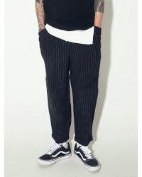 W Concept - Stripe Semi Baggy Wide Pants- Black - Lyst