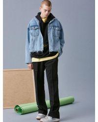 VOIEBIT V635 Stitch Oversize Denim Jacket_black - Blue