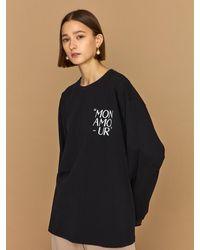 HIDDEN FOREST MARKET Mon Amour Long Sleeve T-shirt - Black