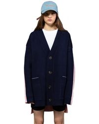 Heich Blade Front And Back Oversized Fit Cardigan - Blue