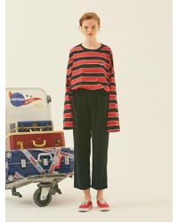 ANOTHER A - Corduroy Button Trousers Black - Lyst