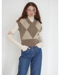 Baby Centaur Fluffy Argyle Sleeve Cut Knit Top - Multicolour