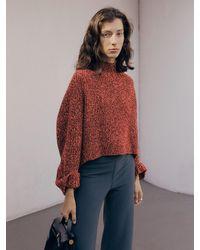 J.CHUNG [set] Shaded Knit And Muffler - Red