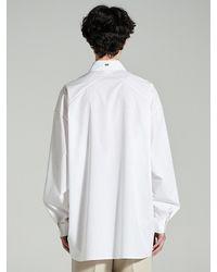 Add Avant-garde Stitch Detail Shirt White