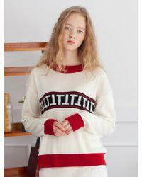 TARGETTO - Stripe Logo Knit Ivory - Lyst