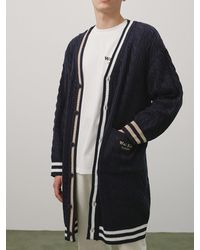 WAIKEI Cable Knit Long Cardigan Navy - Blue