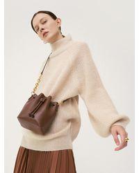 DEMERIEL Mini Bucket Bag - Brown