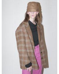 Bouton Handmade Check Coat_camel Check - Multicolour