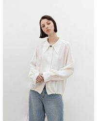 AVA MOLLI Big Collar String Blouse - White