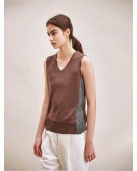 AVA MOLLI V-neck Two Tone Sleeveless Knit - Brown