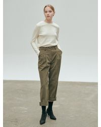 NILBY P Roll Up Hem Baggy Trousers - Green