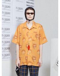 13Month [unisex] Face Printing Aloha Shirt Orange