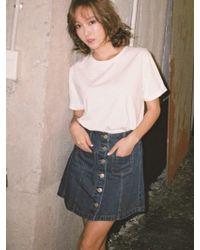 Blanc & Eclare Denim Tees-tekek Denim Skirt - Multicolour