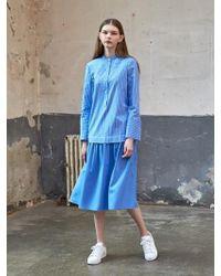 COLLABOTORY | B7ama4025 Blue Stripe Flare Dress | Lyst