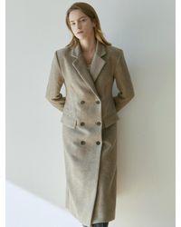 YAN13 Wool Herringbone Long Coat - Brown