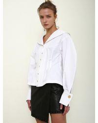 THE ASHLYNN Sophia Gold Button Blouse - White