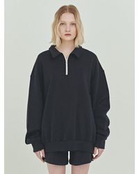 Bensimon Half Zip Up Cropped Sweatshirt - Blue