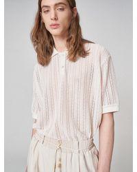 Noirer Lace Piquet Polo T-shirt Ivory - White