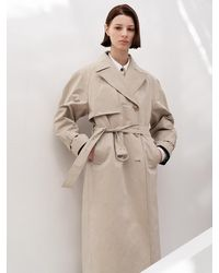 AVA MOLLI Cotton Blend Trench Coat - Natural