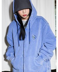 XTONZ Xth001 Primula Pigment-dyed Zip-up Hoodie () - Blue