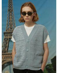 WAIKEI Knit Vest Cardigan Blue