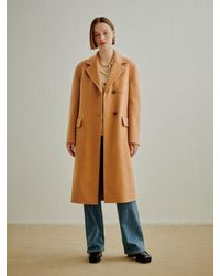 a.t.corner Wool Cashmere Tailored Coat - Natural