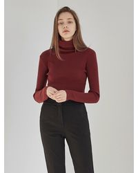 YAN13 Knitting Turtleneck Knitwear - Red