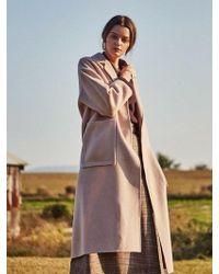 YAN13 - One Button Handmade Wool Coat Belge - Lyst