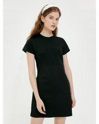 Bensimon Bi-fabric Mini Dress (carbon) - Black