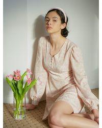 VEMVER V-neck Tie Dyed Dress - Natural