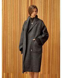 Clue de Clare Oversize Zipper Coat - Black