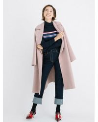 a.t.corner - Pink Mixed Wool Snap Button Slit Long Coat - Lyst