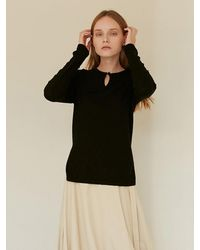 among A Button Knit Top - Black